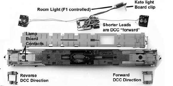 kb17 dn143k2 installation instructions for kato n rdc s when the dn143k2 decoder is installed as shown in the above illustration the lights will operate golden yellow in the forward end and red at the rear end